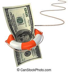 lifebuoy, poupar, dólar, 3d, conceito