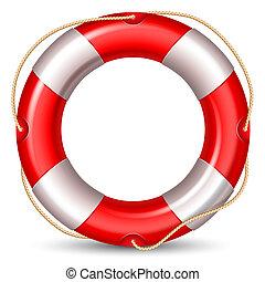 Lifebuoy - Red lifebuou isolated on white background. High...