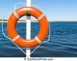 Lifebuoy ring on a ferry through the river