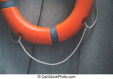 lifebuoy, salvamento, emergência, equipment., água, laranja