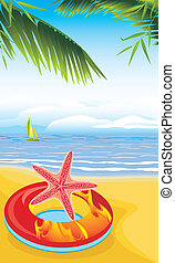 lifebuoy, sandstrand, seestern