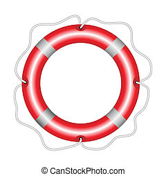 Lifebuoy - Vector illustration of round red lifebuoy...