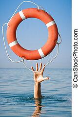 lifebuoy, voor, man, in, danger., redding, toestand, concept.