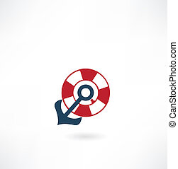 lifebuoy with anchor icon