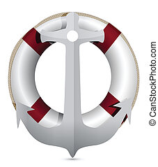lifebuoy with anchor illustration design on white