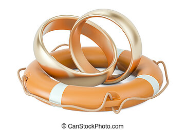 Lifebuoy with golden wedding rings, 3D rendering
