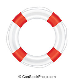 Lifebuoy with red stripes and rope (life salvation). Isolated on white background. Illustration.