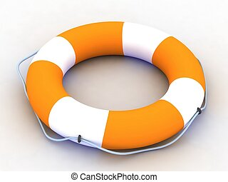 lifebuoy with rope isolated on a white background