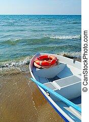 Lifebuoys in boat
