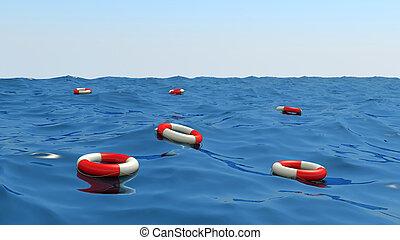 lifebuoys, zwevend, golven