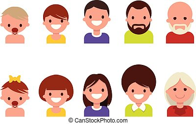 Lifecycle from birth to old age, ageing. People of different ages, from childhood to old age, icon set