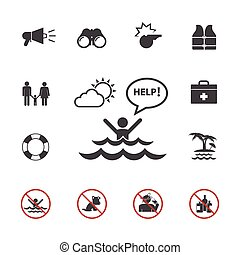 Lifeguard and beach warning icons