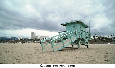 Lifeguard at Los Angeles beach in the evening