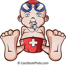 Lifeguard Baby Cartoon Character - A baby dressed as a life...