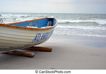 Lifeguard boat on the beach at Atlantic City New Jersey