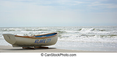 Lifeguard Boat at Atlantic City NJ - Lifeguard boat on the...