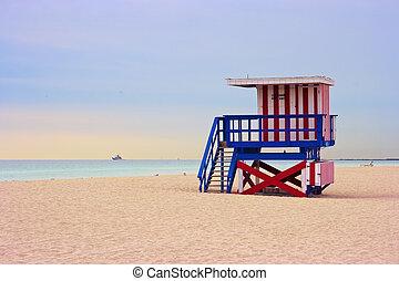 Lifeguard cabin on Miami beach, Florida, USA.