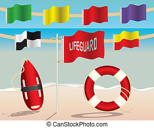 Lifeguard Equipment and Warning Flags on the Beach -...