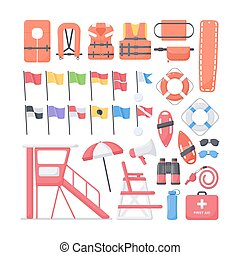 Lifeguard equipment flat vector icons set, big set of design...