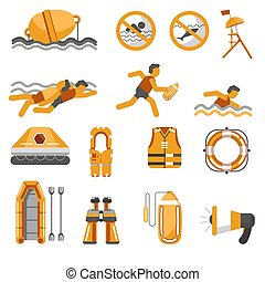 Lifeguard equipment items and swimming safety warning signs ...