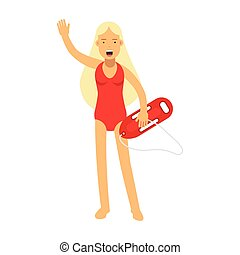 Lifeguard girl character in a red swimsuit with life preserver waving her hand vector Illustration