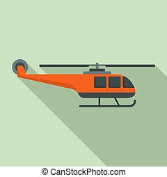 Lifeguard helicopter icon, flat style