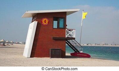 Lifeguard house on the beah in the Dubai