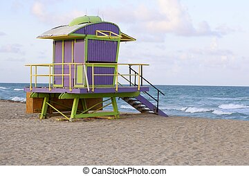 Lifeguard houses in Miami Beach - Lifeguard houses protected...
