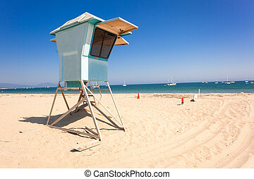 Lifeguard hut on Santa Barbara beach - Lifeguard post on...