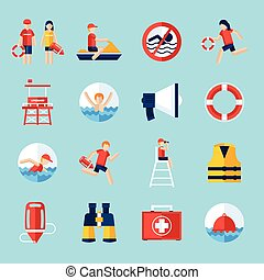 Lifeguard flat icons set with swimming people and water rescue symbols isolated vector illustration