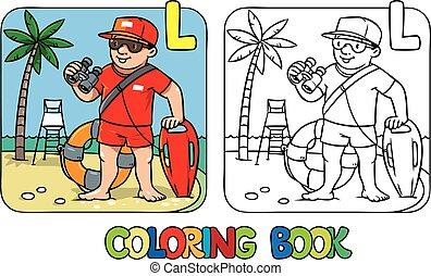 lifeguard, kleuren, alfabet, beroep, l, book., alfabet