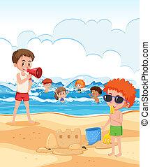 Lifeguard look after children at the beach