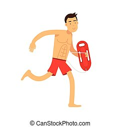 Lifeguard man character on duty running with life preserver buoy vector Illustration