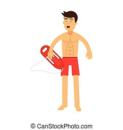 Lifeguard man character on duty standing with life preserver buoy vector Illustration