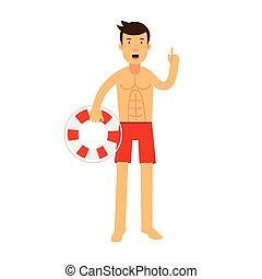 Lifeguard man character on duty standing with lifebuoy and raising his inger up warningly vector Illustration
