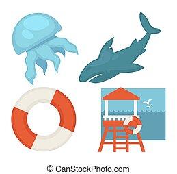 Lifeguard or sea guard vector icons shark, rescuer tower, ...