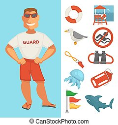 Lifeguard or sea guard watch and water rescue vector isolated flat icons