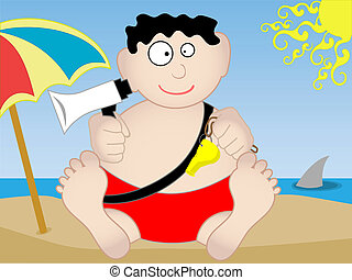 Lifeguard sitting on beach - Vector - Lifeguard sits on the...