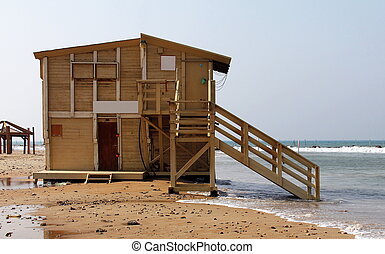 Lifeguard station in winter
