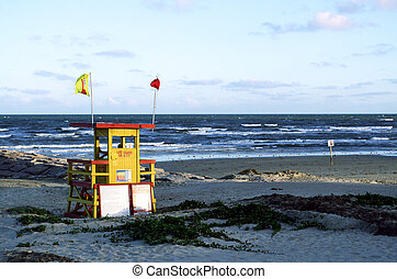 lifeguard station or stand on the beach