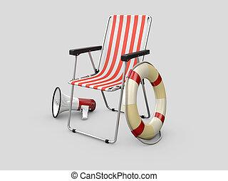 lifeguard, szary, megafon, ilustracja, lifebuoy, tło, krzesło, 3d
