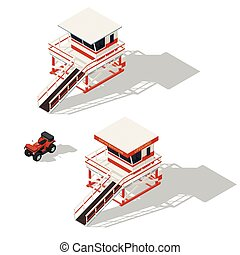 Lifeguard tower and quad bike isometric icons set vector ...