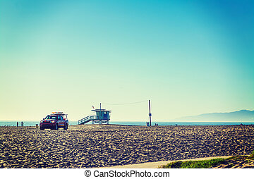 Lifeguard tower and truck in Venice beach