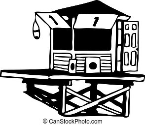 lifeguard tower drawing vector illustration image scalable ...