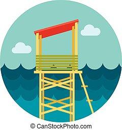 Lifeguard tower flat icon, vector illustration eps 10