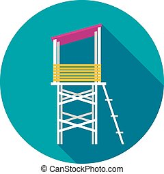 Lifeguard tower flat icon with long shadow, eps 10