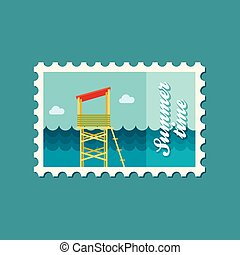 Lifeguard tower flat stamp, vector illustration eps 10