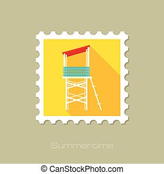 Lifeguard tower flat stamp with long shadow, eps 10