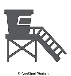 Lifeguard tower glyph icon, tourism and beach, beach ...