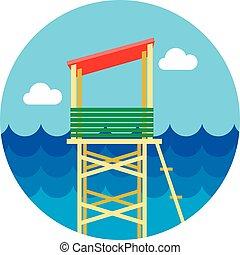 Lifeguard tower icon. Summer. Vacation - Lifeguard tower ...